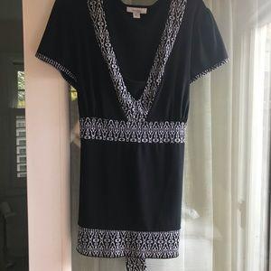 Dressbarn black with print trim tie blouse